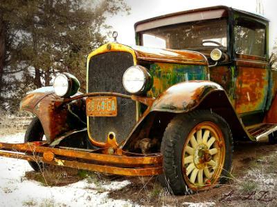 Antique Rainbow Colored Pickup