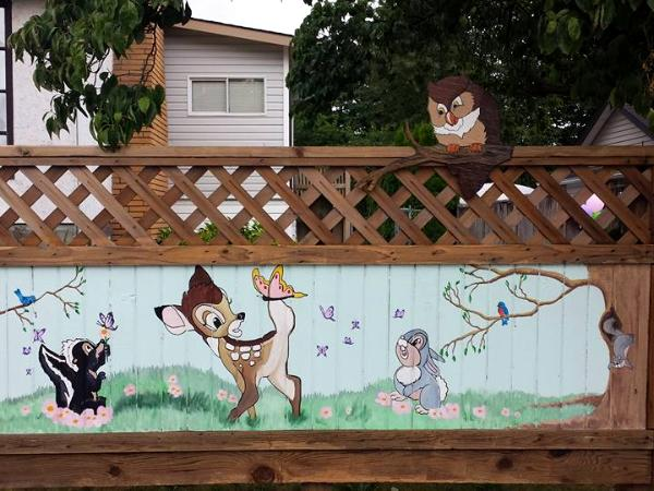 Deer and friends fence mural