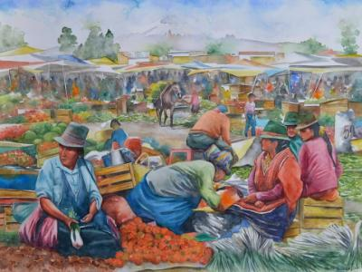Indian market, 76cm x 56cm, 2015