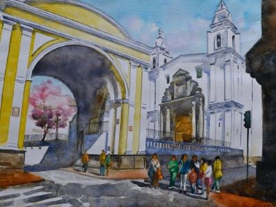 El Carmen Alto church, 35cm x 50cm, 2016