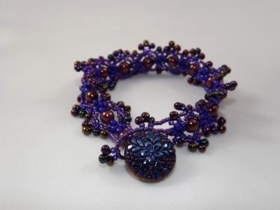 B-90 purple bead & brown pearl Victorian bracelet