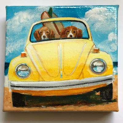 TWO SURFING BEAGLES IN A BUG