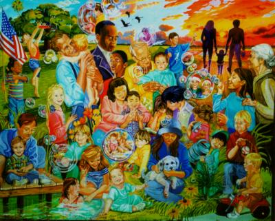 """""""The Role of Parents in A Child's Education,"""" Alkyd Oils, 5'6"""" x 6'6"""""""