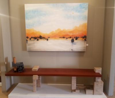 Encaustic with stone/wood bench