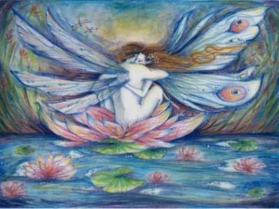 The Lillypond Fairy art print fairy lovers picture from an original painting