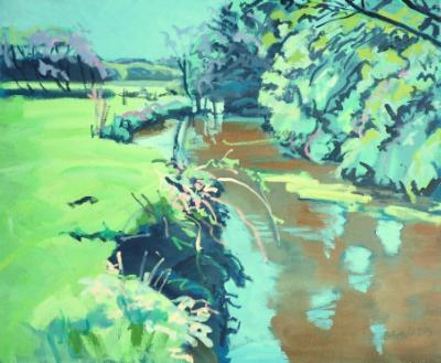 A hot spring day on the river Waldon, Torridge District, Devon