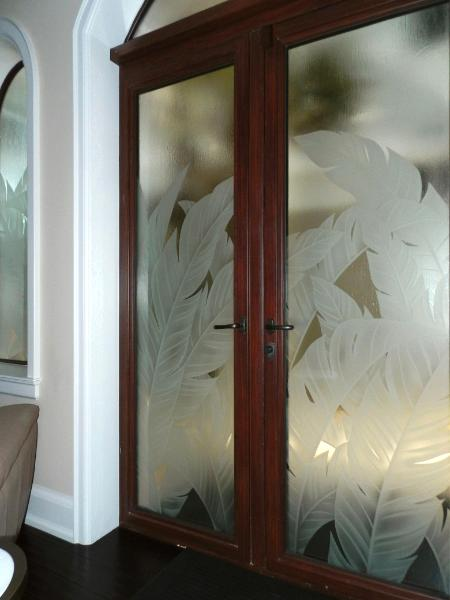 Custom Privacy Doors Etched Glass Designs Reflective