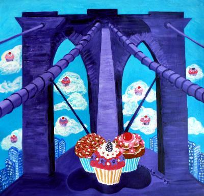 Large Brooklyn Bridge Cupcakes