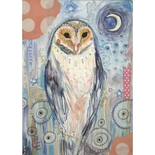 Owl magic owl art print from an original painting collage of a barn owl totem