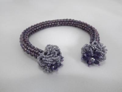 B-57 lavender cuff bracelet with Swarovski crystals