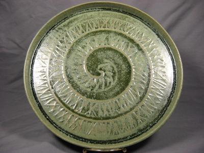 110510.E Platter with Spiral Hatch Design