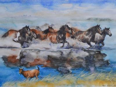 Horses of the Aral sea, 35cm x 50cm, 2014