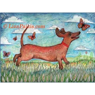Dachshund with butterflies folk art naive dog print from an original painting