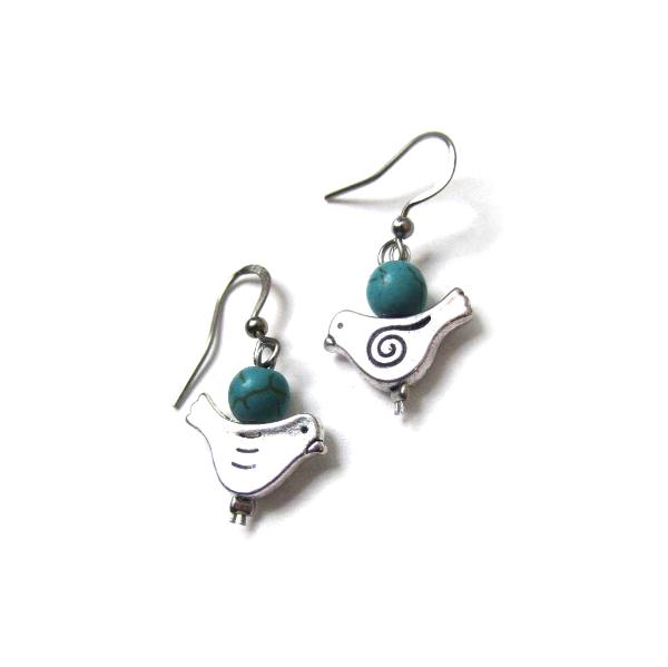 Blue bird dove earrings with turquoise and silver bird charms