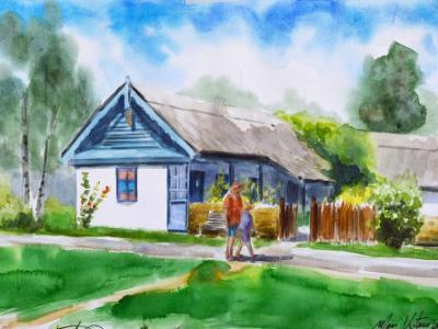 Plein air watercolor painting in Bucharest-ROMANIA, 38cm x 28cm, 2018 (workshop)