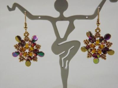 E-121 Amber, Gold, & Rainbow Flower Earrings