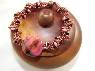 B-164 Copper & Old Rose Kazurie Bead Bracelet