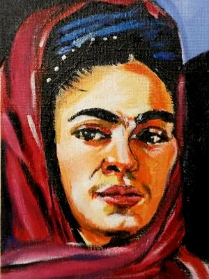 Frida with Scarf commission mini painting