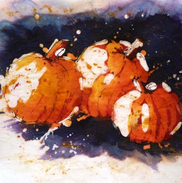 "Pumpkins 8"" x 8"" Watercolor Batik on Rice Paper"