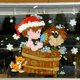Puppy and elf in wash bucket