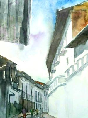 View of La Ronda street, 35cm x 50cm, 2018 (WATERCOLOR DEMONSTRATION)
