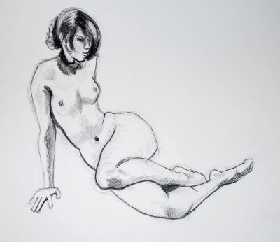 Female Nude, Legs Bent