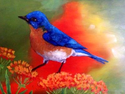 Blue bird on 5x7 panel in acylic