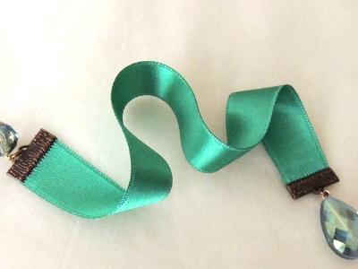 emerald satin bookmark crystal