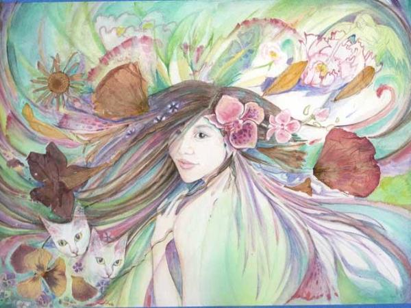 Portait painting progress in watercolor