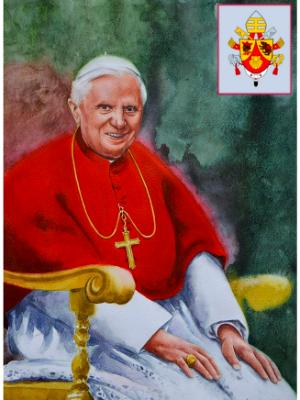 Portrait of Pope BENEDICT XVI, 80cm x 60cm, 2015