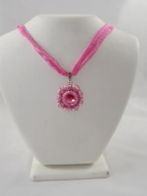 N-82 Pink Swarovski Crystal Rivoli on Pink Silk Ribbon