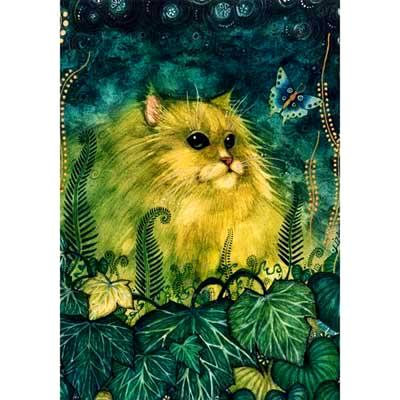 green cat original painting