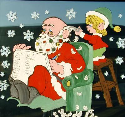Santa with curlers girl elf