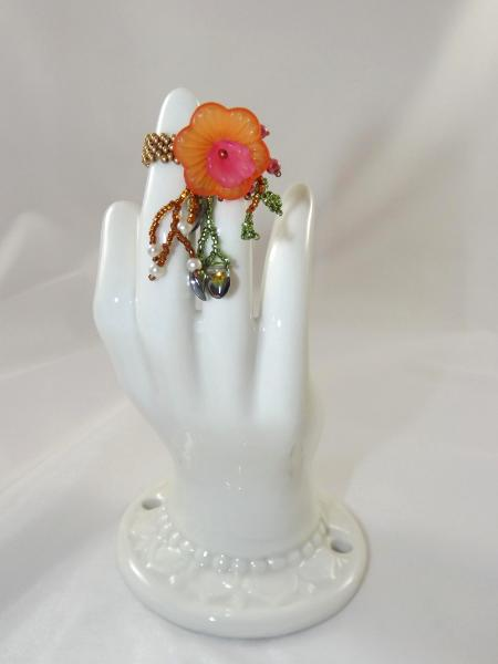 R-6 Copper Beaded Ring w/Orange & Pink Flower