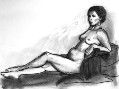 Brie, Reclining (charcoal)