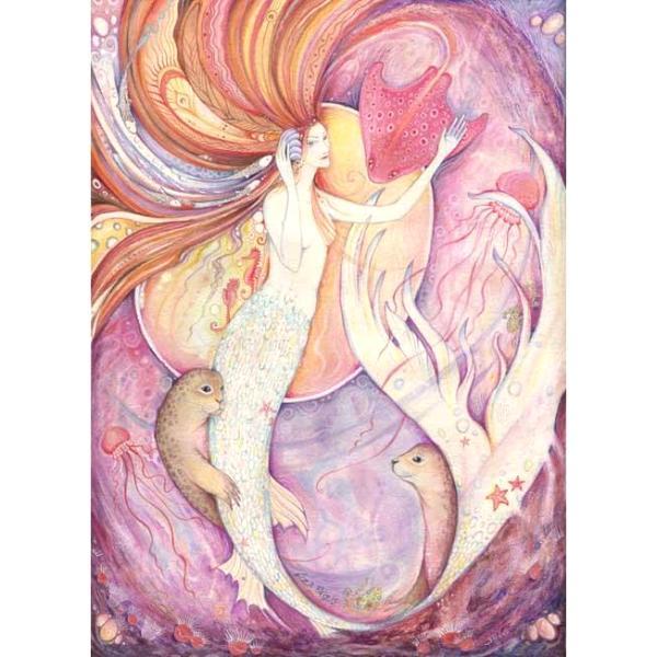 Mermaid Original Painting in Watercolors and Gouache - Aqualina -