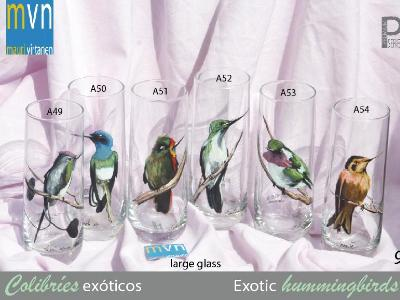 Set of handpainted glasses: EXOTIC HUMMINGBIRDS