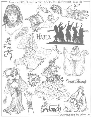 Belly Dance Rubber Stamps #2 - Unmounted