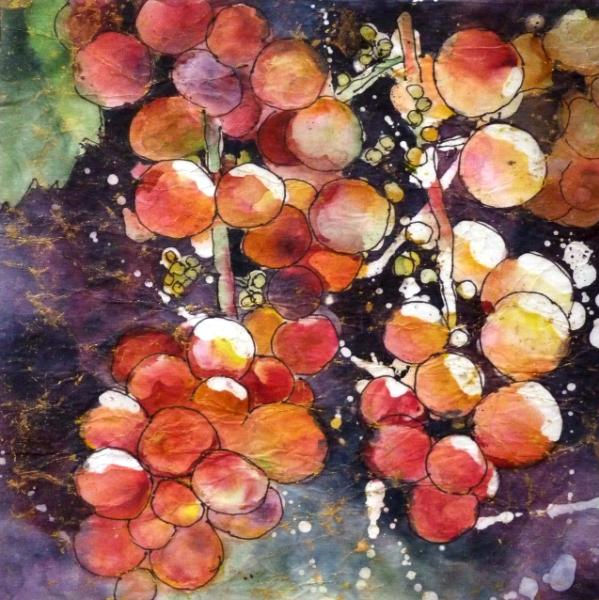 """Grapes on the Arbor 8 """" x 8"""" Watercolor Batik on Rice Paper ~ Sold"""