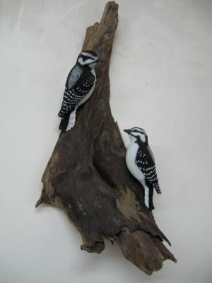 Pair Life size Downy Woodpeckers
