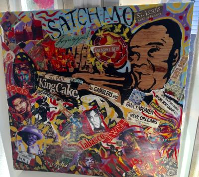 Satchmo collage on wood