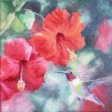 Summer Flowers: Hibiscus with Hummer