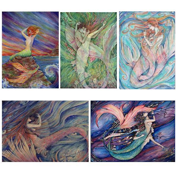 Set of 5 mermaid note cards