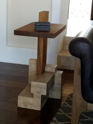 Limestone/walnut end table