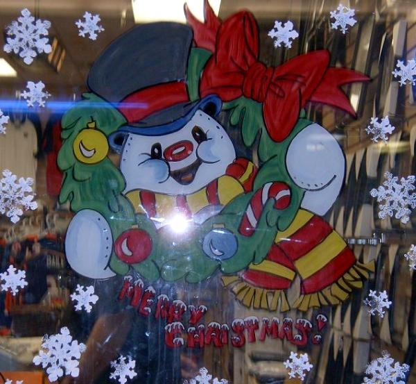 Frosty wreath with Merry Christmas
