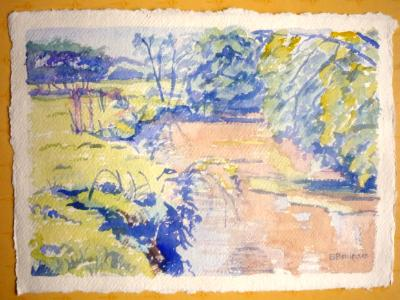 Sketch of the river Waldon in spring