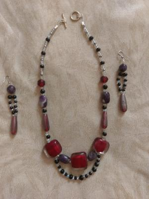 red and amethyst set