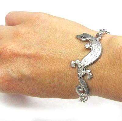 Lizard gecko bracelet pewter lizard artisan jewelry SALE