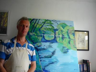 Showing off a large acrylic of the river Torridge with Orford Bridge