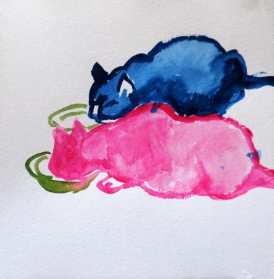 Two Cats, Eating
